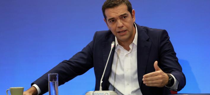 Στιγμιότυπο από τη συνέντευξη Τύπου του κ. Τσίπρα στη ΔΕΘ (Φωτογραφία: ΜΟΤΙΟΝΤΕΑΜ/ΒΑΣΙΛΗΣ ΒΕΡΒΕΡΙΔΗΣ)