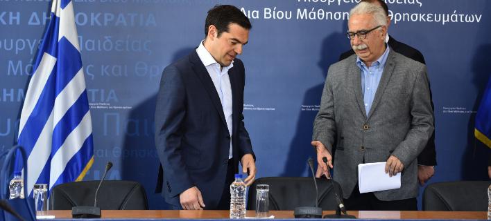 Ο Αλέξης Τσίπρας με τον Κώστα Γαβρόγλου/ Φωτογραφία: EUROKINISSI- ΤΑΤΙΑΝΑ ΜΠΟΛΑΡΗ