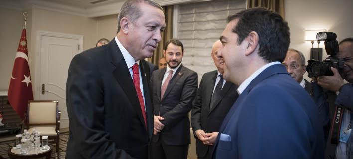 Ο Ταγίπ Ερντογάν με τον Αλέξη Τσίπρα (Φωτογραφία: EUROKINISSI- Γ.Τ. Πρωθυπουργού | Andrea Bonetti)