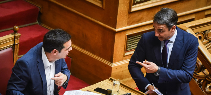Ο Κυριάκος Μητσοτάκης και ο Αλέξης Τσίπρας / Φωτογραφία Eurokinissi