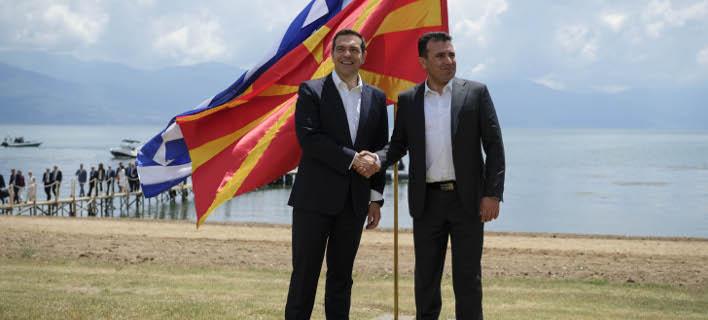 Ο Αλέξης Τσίπρας και ο Ζόραν Ζάεφ /Φωτογραφία eurokinissi