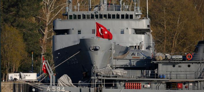 Πλοίο του τουρκικού πολεμικού ναυτικού. Φωτογραφία: AP