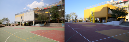 The 13th Primary School before and after renovation.
