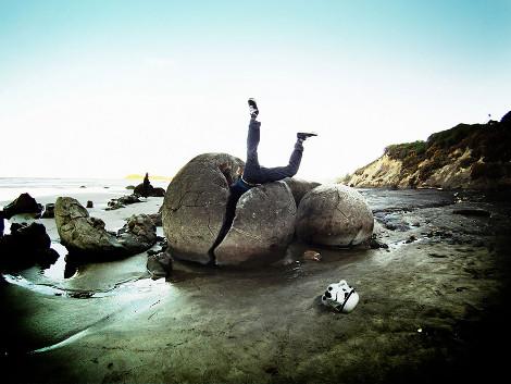 Ιζηματογενή πετρώματα σε παραλία της Νεάς Ζηλανδίας