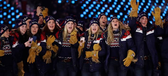 Η ομάδα των ΗΠΑ στην τελετή έναρξης των Χειμερινών Αγώνων. Φωτογραφία: AP