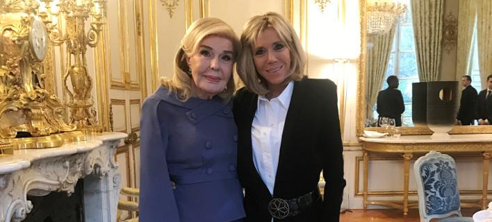 Η Μπριζίτ Μακρόν υποδέχθηκε στο Εlysee την κυρία Μαριάννα Βαρδινογιάννη