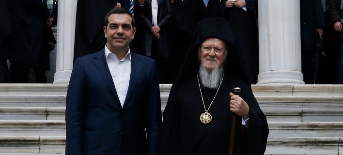Ο Οικουμενικός Πατριάρχης Βαρθολομαίος & ο Αλέξης Τσίπρας(Φωτογραφία: AP Photo/Emrah Gurel)