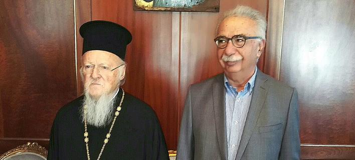 Στιγμιότυπο από τη συνάντηση Βαρθολομαίου- Γαβρόγλου/ Φωτογραφία: ΑΠΕ-ΜΠΕ