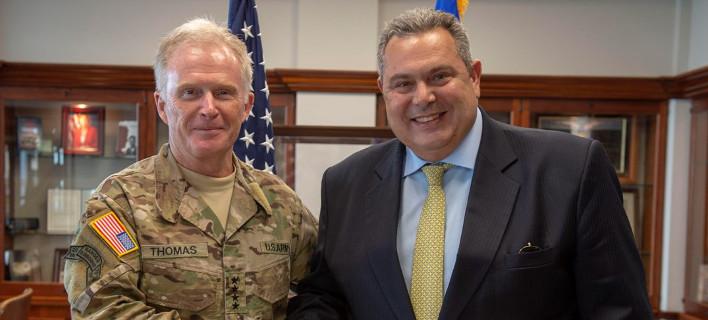 Ο Πάνος Καμμένος με αμερικανό στρατηγό στο πρόσφατο ταξίδι του στις ΗΠΑ- φωτογραφία eurokinissi