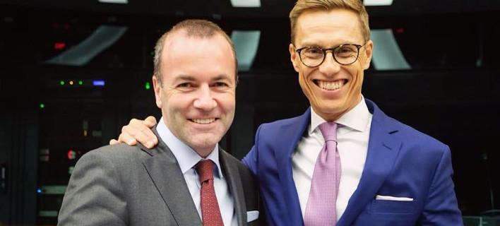 Ο Γερμανος Μάνφρεντ Βέμπερ και ο Φινλανδός Αλεξάντερ Στουμπ Φωτογραφία: Manfred Weber-Facebook)