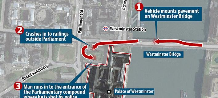 Λονδίνο: Η τρελή πορεία του τζιπ του δράστη που τραυμάτισε πολίτες στη γέφυρα και έφτασε στο Κοινοβούλιο [εικόνες]