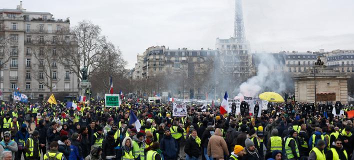 Νέα διαδήλωση των «Κίτρινων Γιλέκων». Φωτογραφία: AP