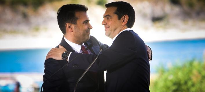 Ζάεφ και Τσίπρας στις Πρέσπες / Φωτογραφία: Eurokinissi