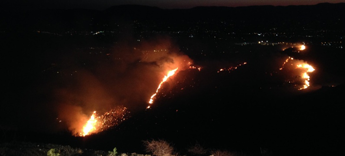 Σε εξέλιξη η πυρκαγιά στον Σκοπό Ζακύνθου -Μάχη με τις φλόγες όλο το βράδυ [εικόνα]