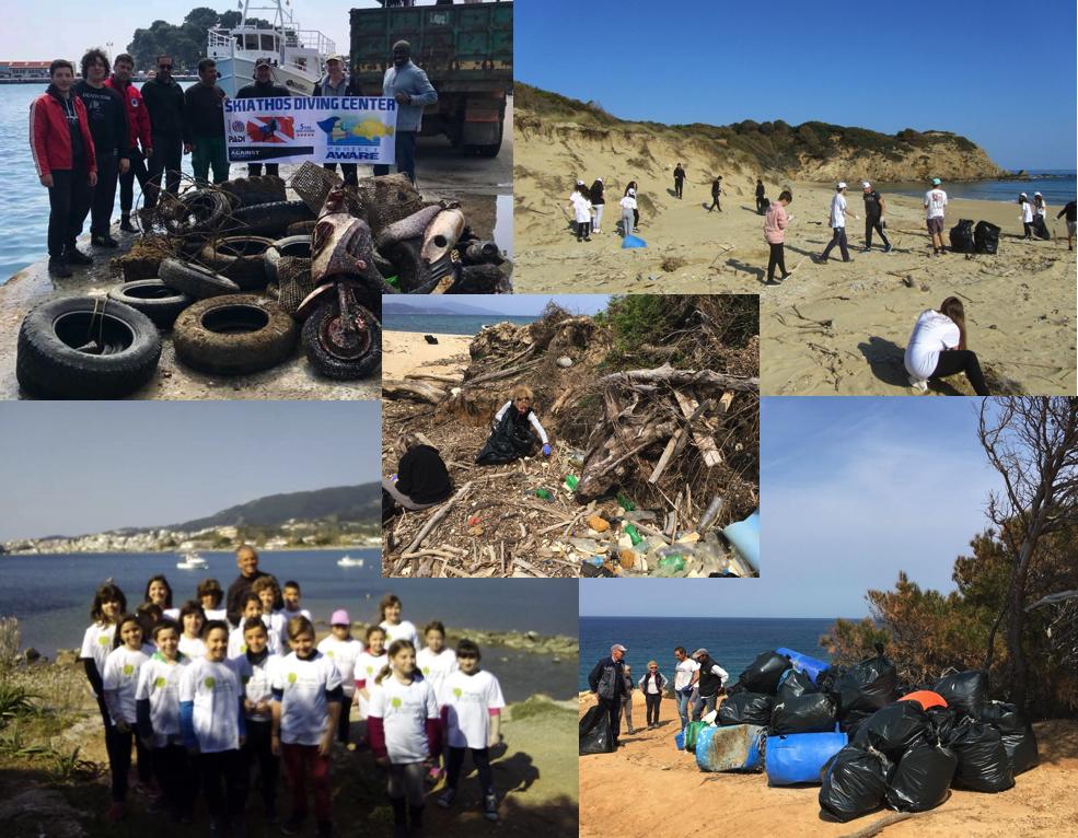 Εθελοντές καθαρίζουν τις παραλίες της Σκιάθου