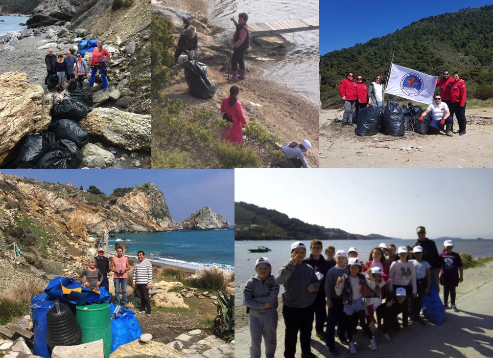 Εθελοντές καθαρίζουν τις παραλίες