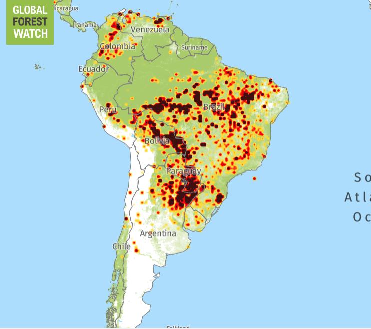 O χάρτης των πυρκαγιών στον Αμαζόνιο