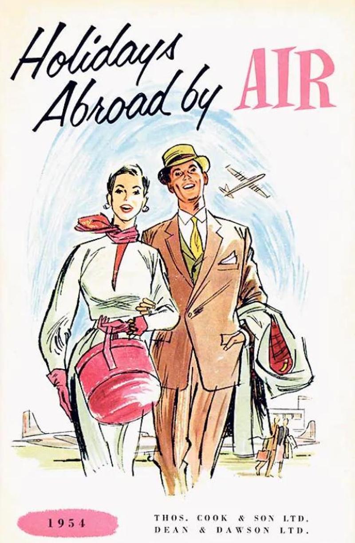 Το εξώφυλλο διαφημιστικού φυλλαδίου του 1954 της Thomas Cook & Sons με αεροπορικά ταξίδια.