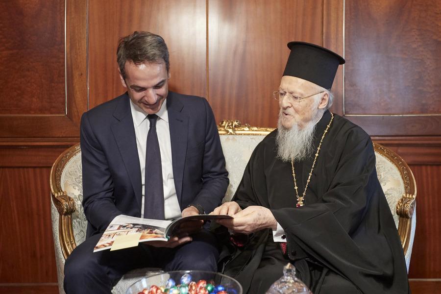 Με τον Οικουμενικό Πατριάρχη Βαρθολομαίο συναντήθηκε σήμερα ο Κυριάκος Μητσοτάκης