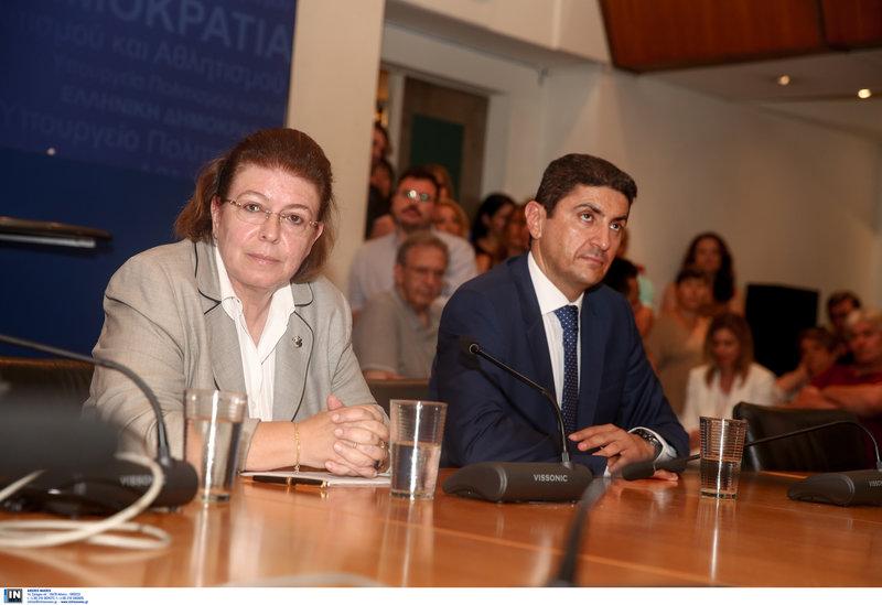 Η Λίνα Μενδώνη και ο Νίκος Αυγενάκης
