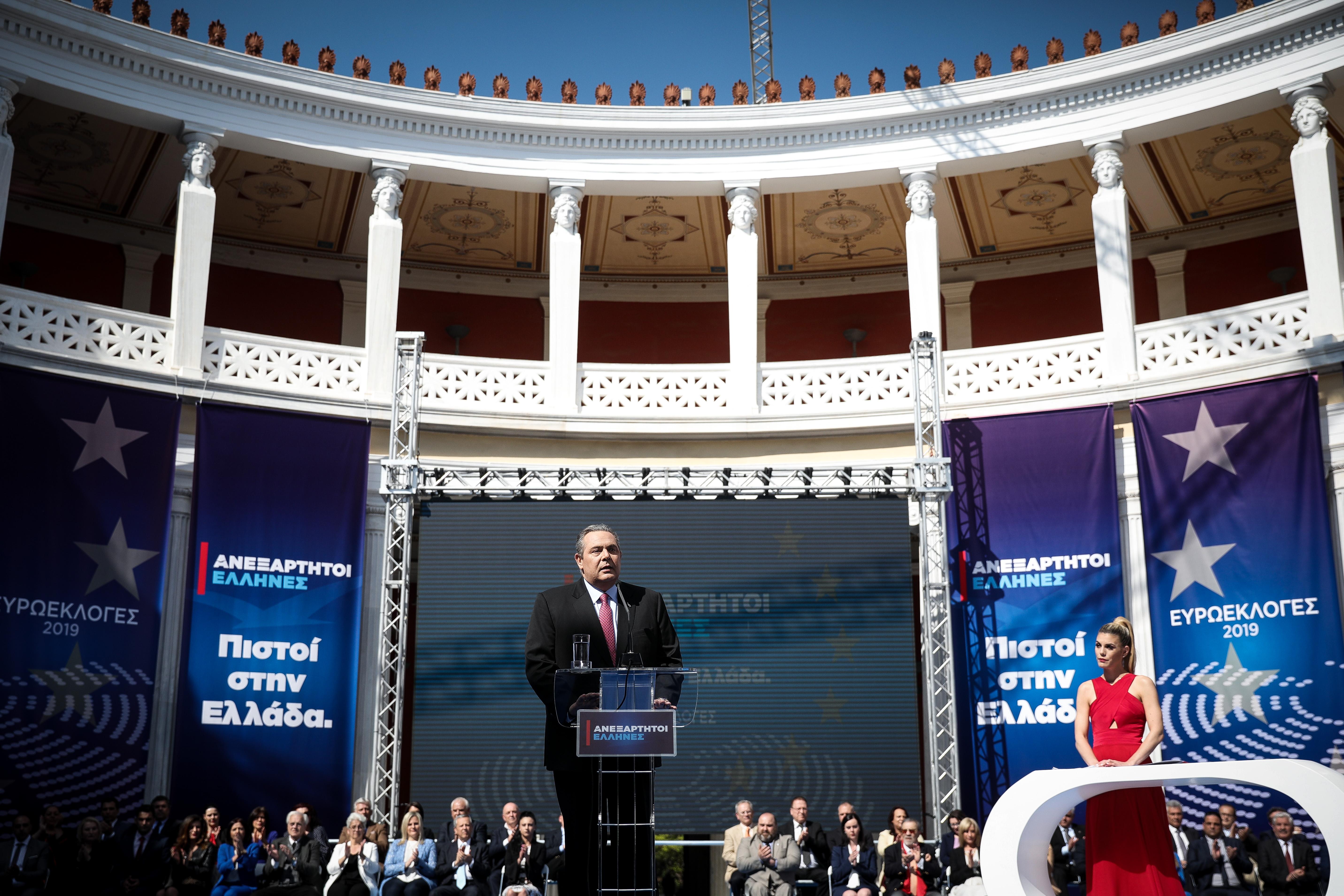 Ο Πάνος Καμμένος στην παρουσίαση του ψηφοδελτίου των Ανεξάρτητων Ελλήνων για τις ευρωεκλογές