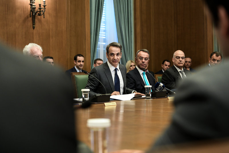Ο Κυριάκος Μητσοτάκης μιλά στο υπουργικό συμβούλιο