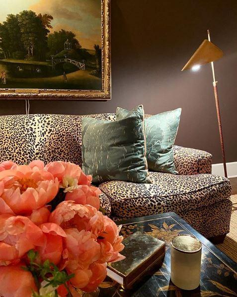Ο λεοπάρ καναπές στο σαλόνι του σπιτιού
