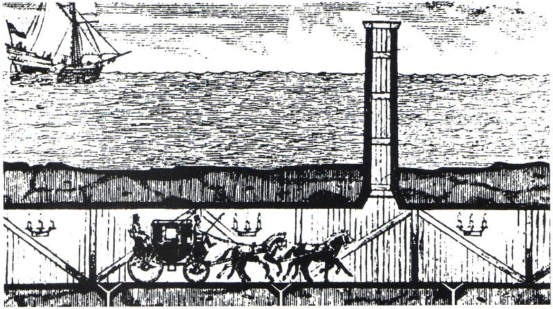 Το σχέδιο που υπέβαλε ο Αλμπέρ Ματιέ Φαβιέ για σήραγγα κάτω από το Στενό της Μάγχης στον Ναπολέοντα.