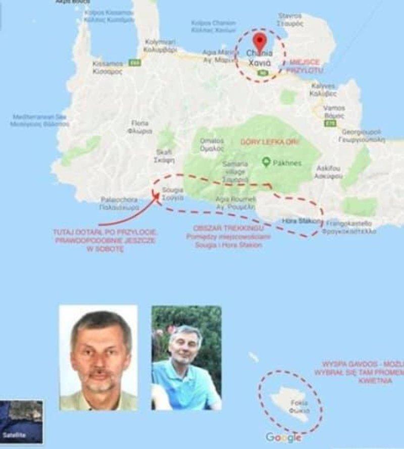 Χάρτης με τις τελευταίες τοποθεσίες και τους πιθανούς προορισμούς του 64χρονου που έχει εξαφανιστεί.