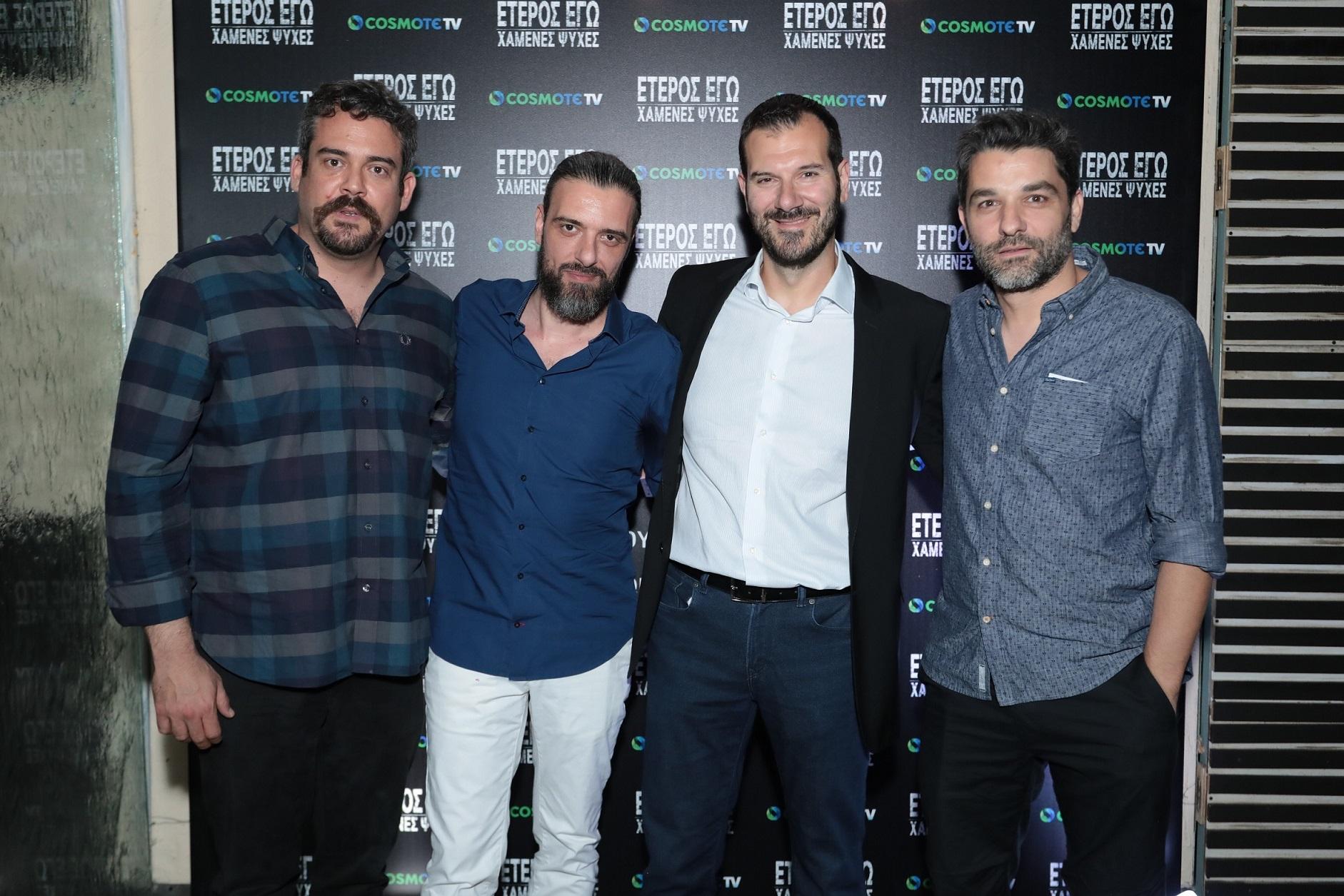 Από αριστερά: Πυγμαλίων Δαδακαρίδης, Σωτήρης Τσαφούλιας, ο Executive Director της COSMOTE TV, Δημήτρης Μιχαλάκης και ο Πέτρος Λαγούτης