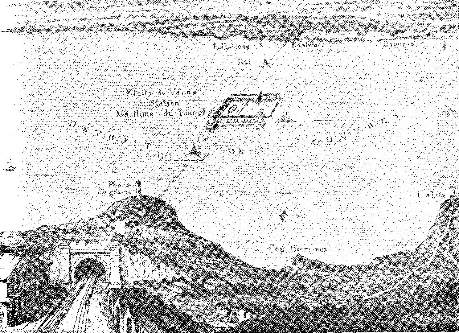 Η ιδέα του Γάλλου Τομέ ντε Γκαμόντ για συρμό που θα διερχόταν από υποθαλάσσια σήραγγα κάτω από το Στενό της Μάγχης.