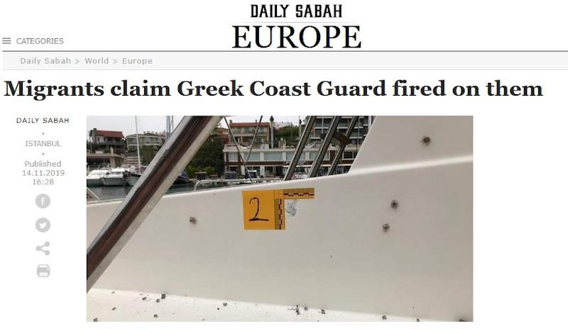 Το δημοσίευμα στην αγγλόφωνη έκδοση της Sabah συνοδεύεται από φωτογραφία που δείχνει τρύπες από σφαίρες στο σκάφος των μεταναστών, όπως λέει.