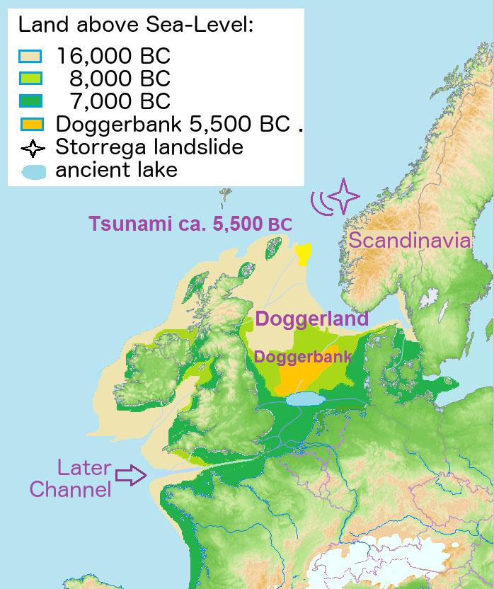 Ο χάρτης δείχνει την πιθανή έκταση της «Ατλαντίδας της Βρετανίας», του Doggerland, που ένωνε τη Βρετανία με την ηπειρωτική Ευρώπη