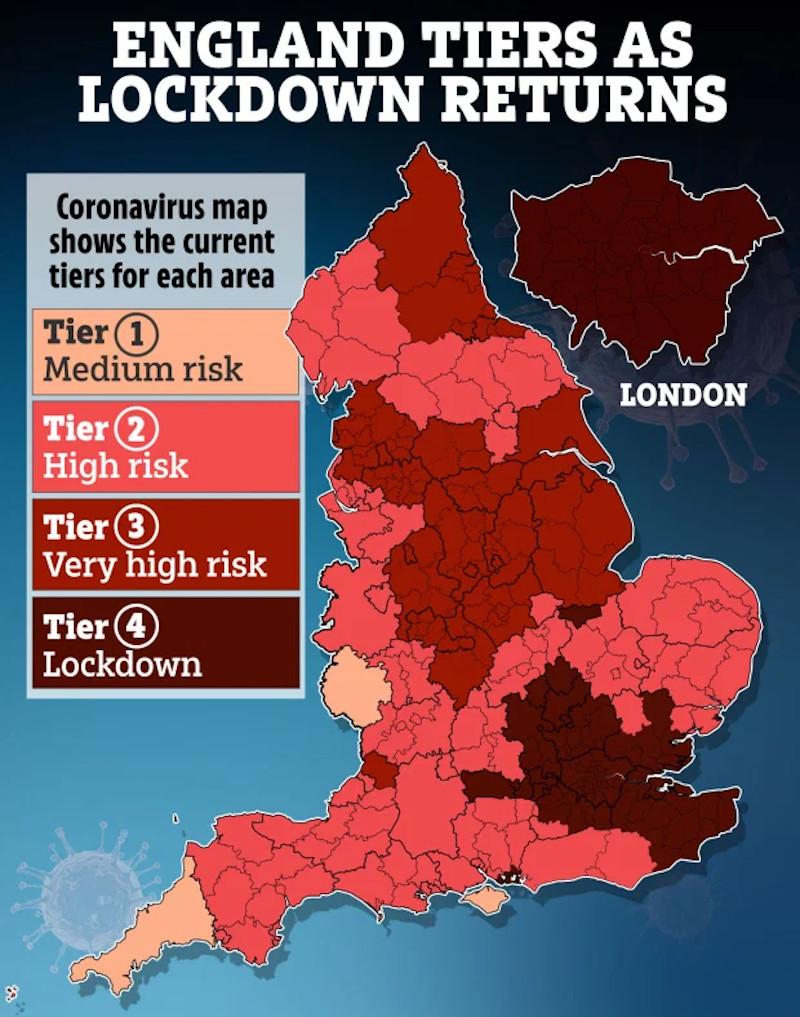 Με σκούρο κόκκινο οι περιοχές της νοτιοανατολικής Αγγλίας όπου ισχύει το αυστηρότερο επίπεδο lockdown για την πανδημία του κορωνοϊού