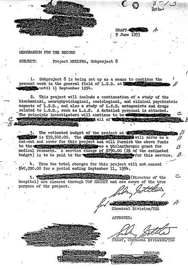 O  Σίντνεϊ Γκότλιμπ ενέκρινε μ' αυτή την επιστολή που φέρει ημερομηνία 9 Ιουνίου 1953 το υποπρόγραμμα του MK-ULTRA για τη χρήση του LSD.