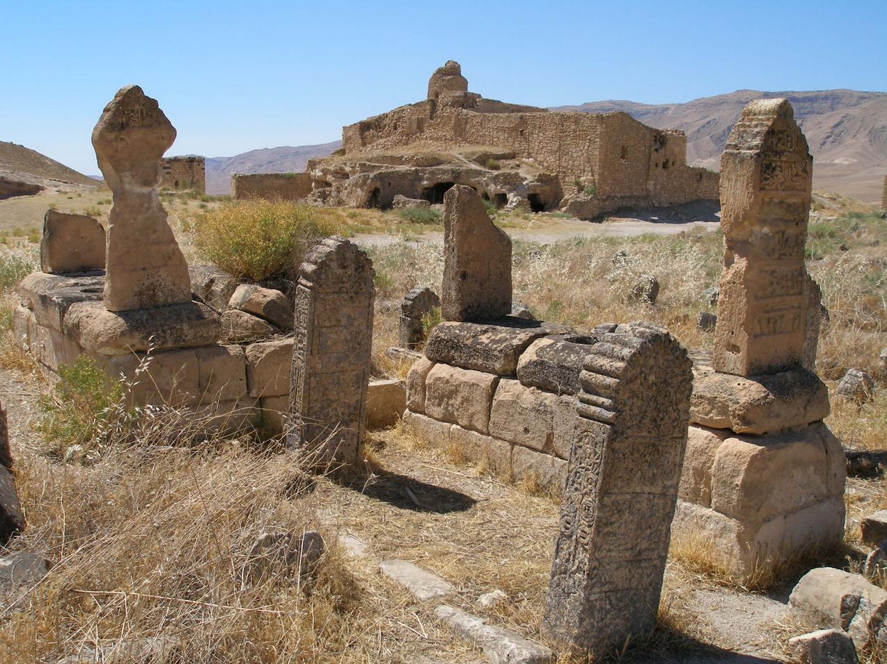 Άποψη της Άνω Πόλης του Χασάνκεϊφ με μουσουλμανικούς τάφους.