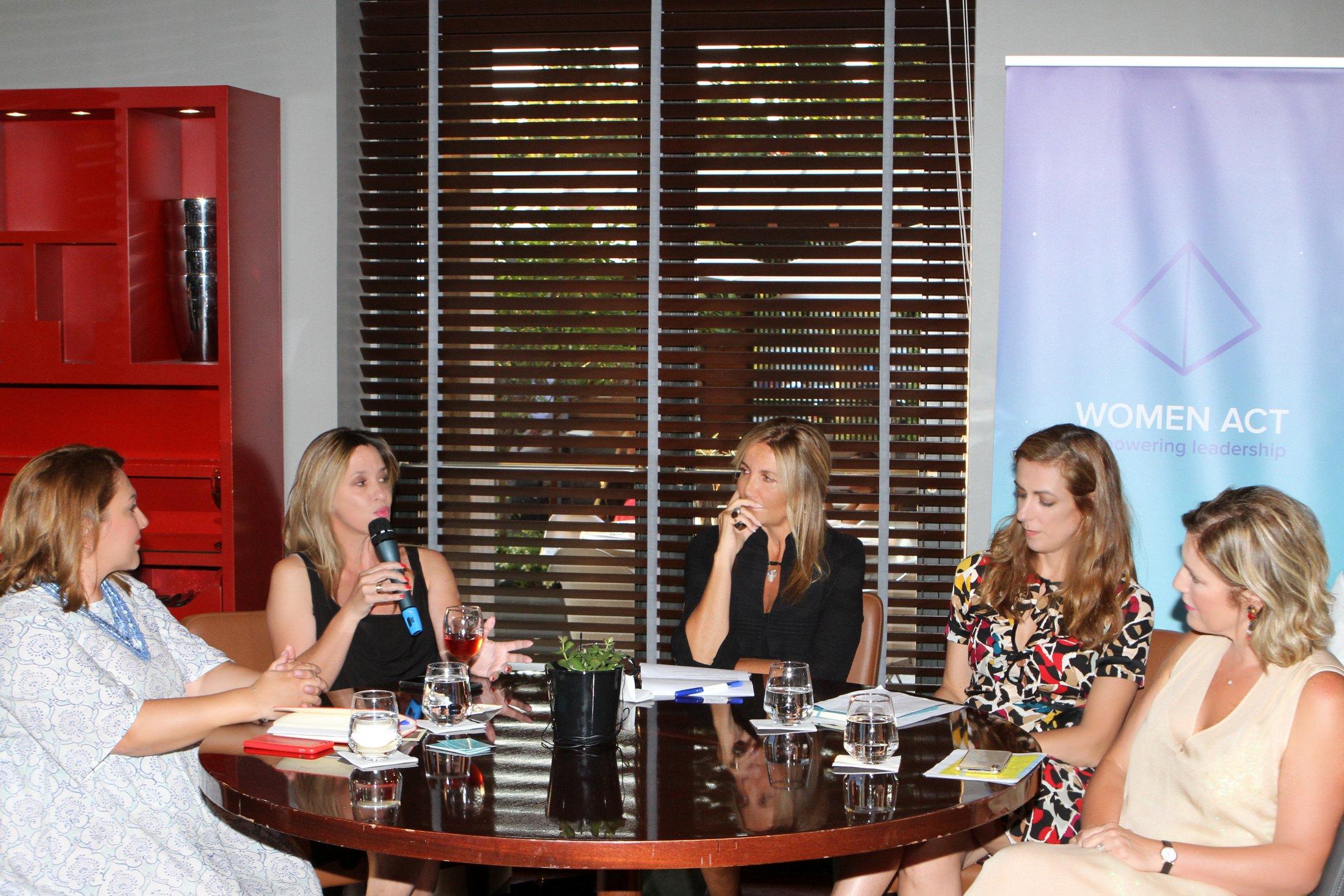 Έλενα Τσαγκαράκη (Υπεύθυνη Επικοινωνίας Women Act), Δρ. Αγγελική Κοσμοπούλου (Ambassador Women Act), Μαρέβα Γκραμπόφσκι, Μαίη Ζαννή (co-founder Women Act), Δρ. Αθηνά Γιαννοπούλου (συντονίστρια Women Act Θεσσαλονίκης)