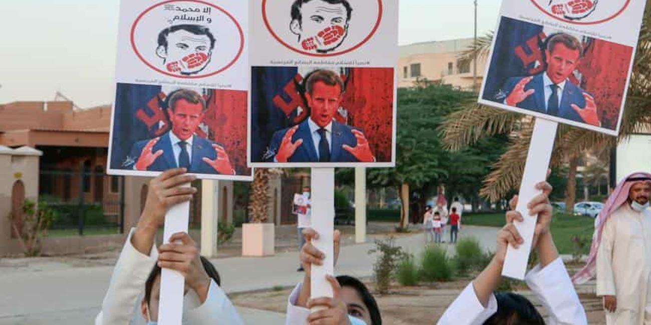 Διαδήλωση κατά του προέδρου της Γαλλίας, Εμανουέλ Μακρόν σε χώρα της Μέσης Ανατολής