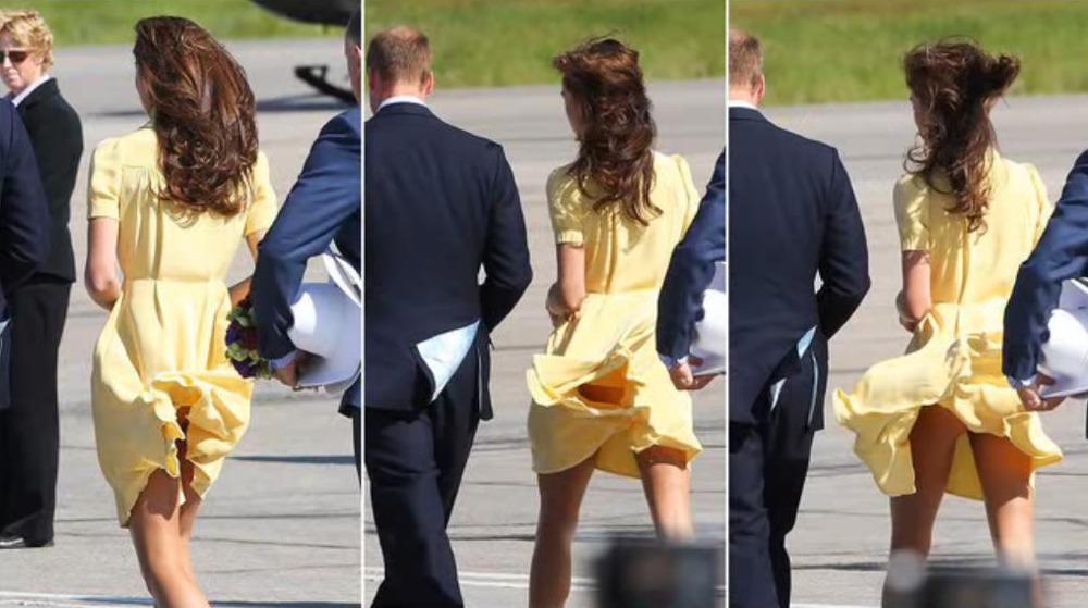 Τα οπίσθια Κέιτ Μίντλετον σε πρώτο πλάνο όταν ο αέρας σήκωσε το κίτρινο φόρεμά της