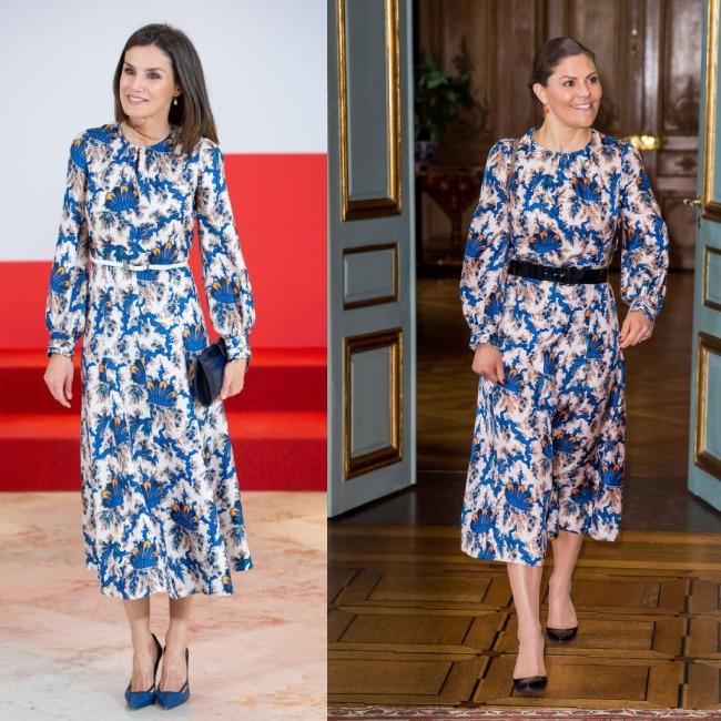 βασίλισσα Λετίθια και πριγκίπισσα ΒΙκτόρια φορούν το ίδιο φόρεμα