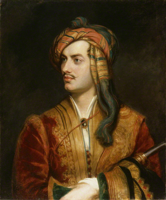 Πορτραίτο του Βύρωνα από τον Τόμας Φίλιπς κατά την περίοδο που ήταν φιλοξενούμενος του Αλή Πασά στα Ιωάννινα