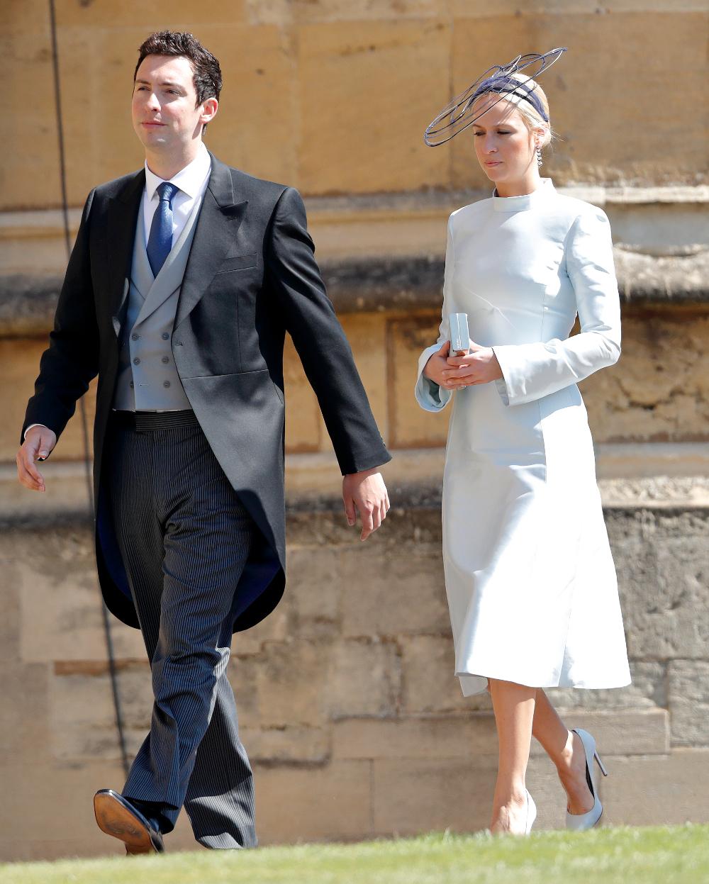 Η Misha Nonoo με τον μέλλοντα σύζυγό της, Μαικλ Χεν στον βασιλικό γάμο της Μέγκαν Μαρκλ τον Μάιο του 2017