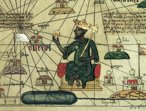 O Mάνσα Μούσα εικόνιζεται με χρυσό νόμισμα στο χέρι στον Καταλανικό Άτλαντα του 1375 μ.Χ.