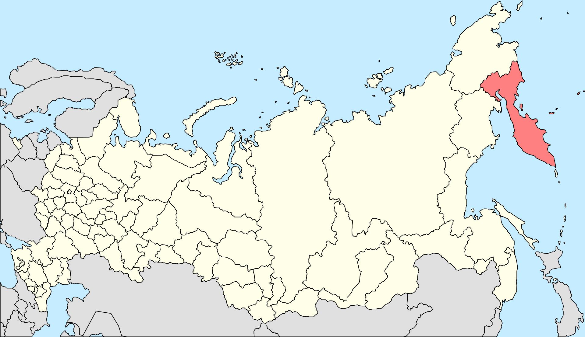 Χάρτης της χερσονήσου της Καμτσάτκα στη ρωσική άπω ανατολή, όπου βρίσκονται 29 ηφαίστεια.