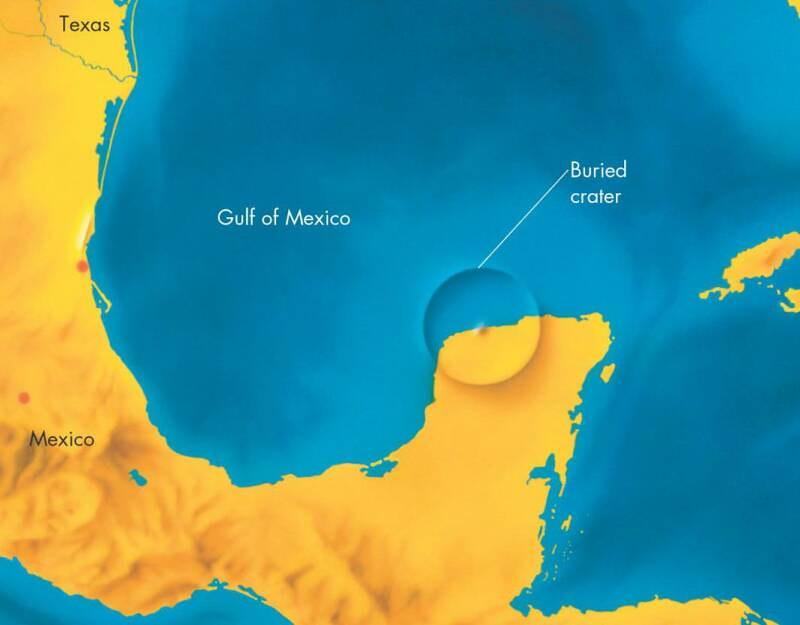 Χάρτης του κρατήρα στην χερσόνησο Γιουκατάν στο Μεξικό