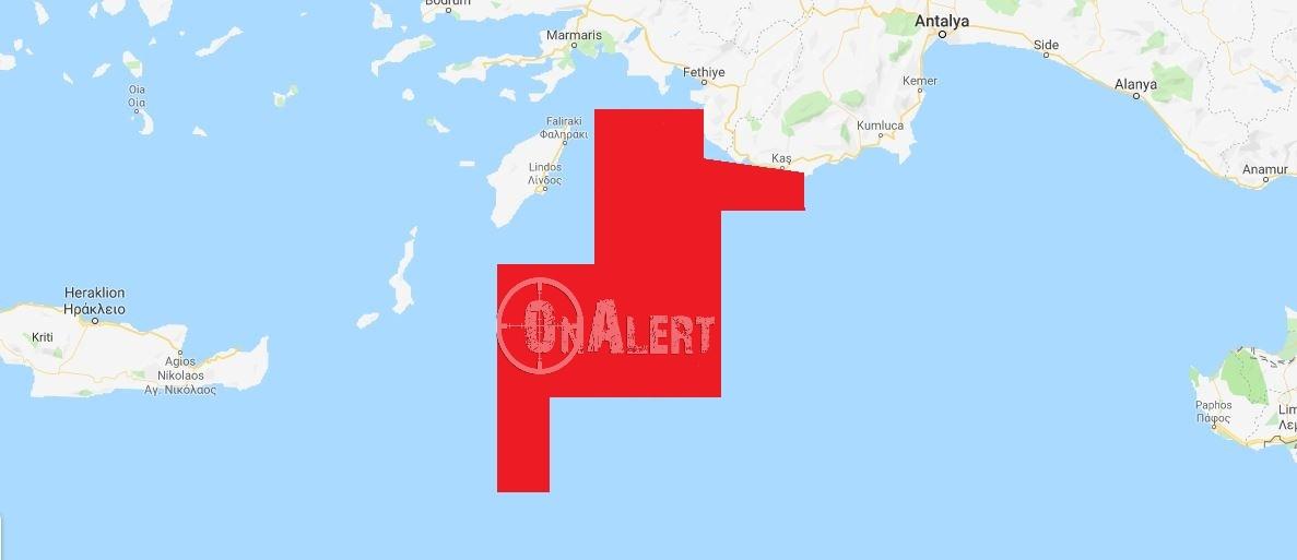 Ο χάρτης της θαλάσσιας περιοχής στην οποία θα διεξαχθούν οι έρευνες.