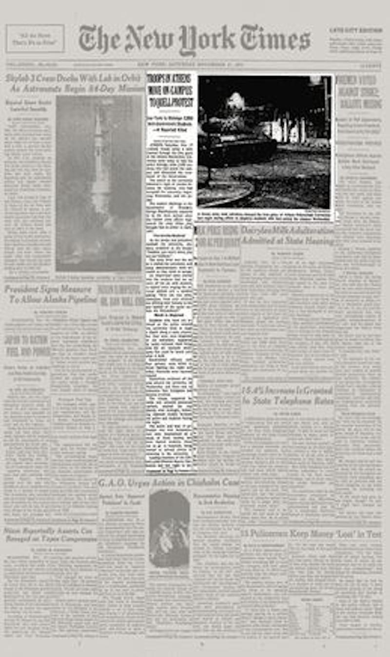 Η εξέγερση του Πολυτεχνείου στο πρωτοσέλιδο φύλλο της 17ης Νοεμβρίου 1973 των New York Times.
