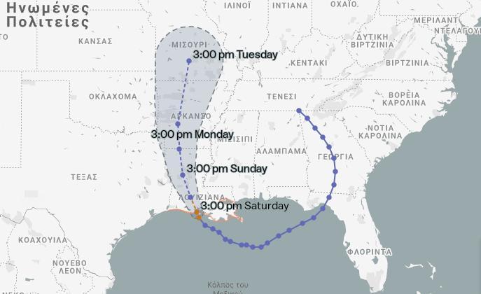 H  προβλεπόμενη πορεία του τυφώνα Μπάρι, σύμφωνα με το Εθνικό Κέντρο Τυφώνων των ΗΠΑ.