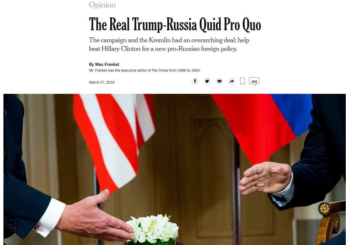 Το επίμαχο άρθρο γνώμης υπέγραφε ο Μαξ Φράνκελ, άλλοτε εκτελεστικός διευθυντής των New York Times