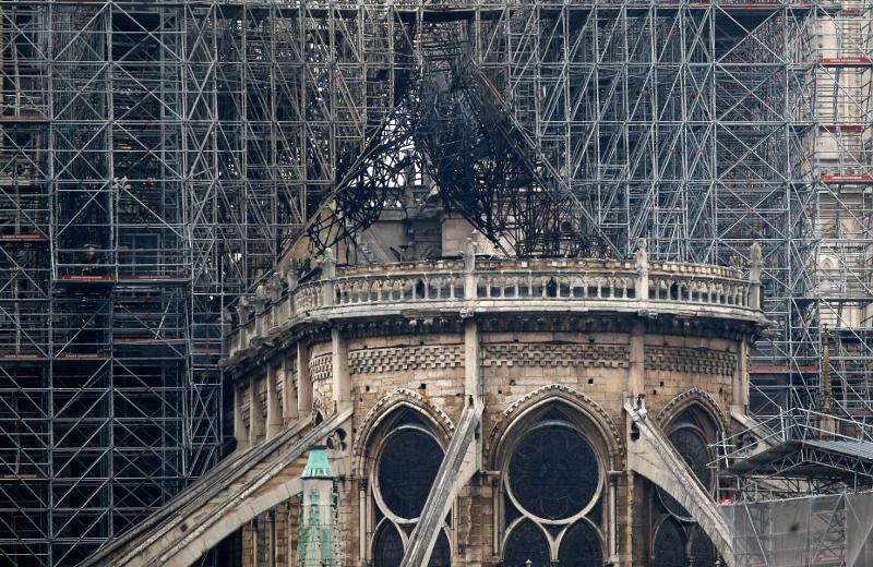 Σκαλωσιές στην οροφή της Παναγίας των Παρισίων.